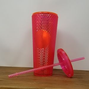 Starbucks neon pink studded venti cup NWT